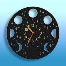 Moon Phases Wall Wooden Clock Lunar Cycle Planetarium BIG WOOD Non-ticking