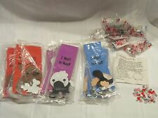 NEW 12 FOAM DOG BOOK MARKERS & 12 BEAD HEART BRACELETS School Teacher Art Kits