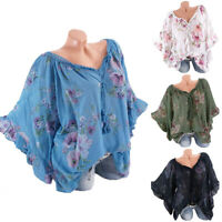 Plus Size Women Retro Floral Batwing Sleeve T-Shirt Baggy Loose Casual Blouse