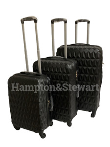 "4 Wheel Spinner Black Suitcase Hard Shell Luggage Trolley Case Sizes 20"" 24"" 28"""