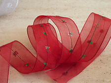 Wired Sheer Red Green Organza Christmas Ribbon Cakes, Bows, Wreath 1m 38mm