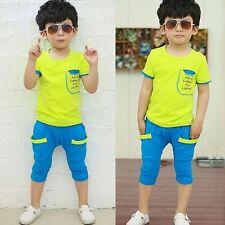 2pcs Boy Infant Toddler Kids T-shirt Top+Pants Trousers Clothes Outfits Set 100