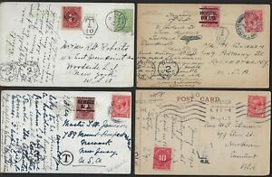 UK GB US 1911 30s FOUR POSTAGE DUE POST CARDs W/VARIOUS DUES MARKINGS IN UK & US