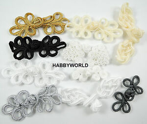Fabric Frog Fasteners Fastener Cloak Clasps Black, White, Cream Gold, Silver