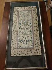 Large Vintage Sampler Birds Butterflies Flowers Insects Great Color 25 X13 Inch