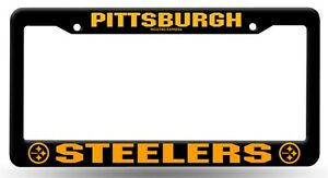 Pittsburgh Steelers BLACK Plastic Frame License Plate Tag Cover Football