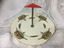 Vintage Art Deco Plate Cake Stand HighTea Sandwich Tray Red Bakelite Handle 8.5""