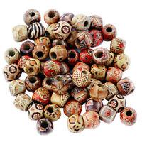 100 Stück große Loch Holzperlen für Makramee Schmuck Charms Crafts Making