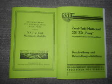 Beschreibung NSU 201ZD Pony & NSU 2-Takt Modelle