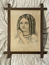 Evening Prayer Currier & Ives 1870s Victorian Childrens Print Little Girl Framed