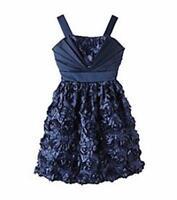 RARE EDITIONS® Girl's 7, 12 Navy Pleated Soutache Skirt Holiday Dress NWT $78