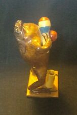 """Vintage Taxidermy Frog Toad Playing Maracas Desk Top Pen Holder 6.5"""" (AB1)"""