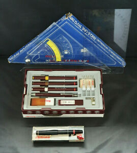 Rotring Rapidograph College Set+ Radiograph Fountain Pan + BH Angle-Line Square