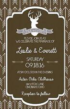 Wedding Invitations Deer Head Herringbone Rustic 50 Invitations & RSVP Cards
