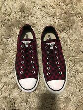 Woman's Size USA 9 Burgundy/Black Checkered Converse Tennis Shoes/Low Tops/Sneak
