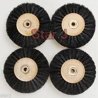 4 x Wood Hub Wheel Brush Jewelry Dental Polishing Cleaning Buffing Rotary 4 Row