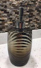 Silver/Metallic Bronze 2 Tone Glass Soap Dispenser Pump Bathroom/Kitchen Decor