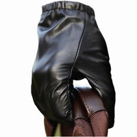Men's Genuine Leather Texting Gloves Thin Silk Lining (Palm;21-24cm)