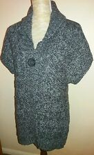 Debenhams Ladies Size 12 Grey Marl Button Cable Knit Cardigan Spring Wear Casual