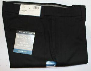 New Mens Haggar H26 Slim Fit No Iron Dress Khaki Pants w/ Super Flex Waistband