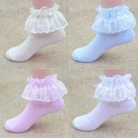 Toddler Baby Girls Kids lace Anti-slip Princess Socks Cotton Ankle Sock Shoes