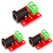 DC Socket Breakout Board Pack of 3 2.5 mm jack  3 pin screw terminals