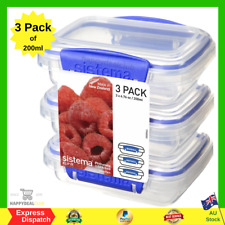 Sistema Klip It Pack 200ml x 3 Food Storage Container, Clear | NEW FREE SHIPPING