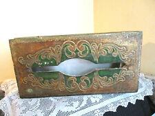 Vintage Italian Florentine Tole ware Hinged Wood Gold Green Tissue Box