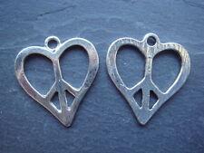 Un cœur argent paix signe 21mm tibétain style pendentif/charm