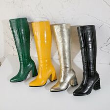 Womens Snakeskin Pointed Toe Knee High Riding Boots Block Heels Zip Side Shoes