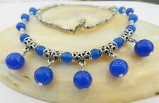 "LOVELY NATURAL BLUE SAPPHIRE ROUND BEADS PENDANTS & TIBET SILVER NECKLACE 18""AAA"