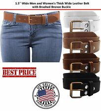 Plain Stitch Thick Wide Leather Removable Brushed Bronze Stitch Buckle Belt 5XL