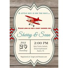 20 Personalized Baby Shower Invitations -Airplane Design - Vintage Plane