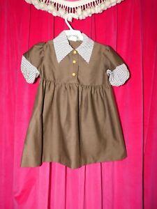 Vintage Girl's Brown MaryJane Dress Size 5  #SP