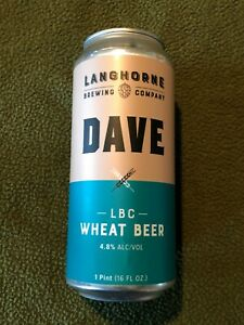 Langhorne Brewing DAVE LBC Wheat Beer Can Bottom Opened 16oz Micro Craft