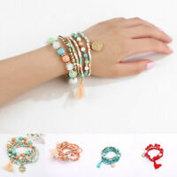 6Pcs/Set Boho Women Ethnic Multilayer Tassel Beads Bracelet Bangle Jewelry