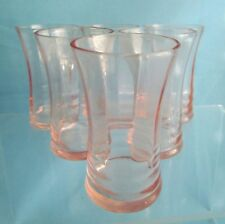 Six Pink Depression Glass Shot Aperitif Glasses 1930s