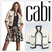 CABI Sz M Style #297 Socialite Open Crop Cardigan Ivory & Black 100% Cotton