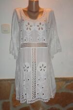 Ibiza TUNIKA /Kleid 3/4 Arm Häkel Stickerei Baumwolle Weiss Be Inn  EG 44-46