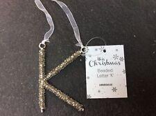 """Glitter/Beaded Letter Christmas Decorations """"K"""""""