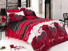 6 tlg Bettwäsche Bettgarnitur Bettbezug 100% Baumwolle Kissen 220x240 cm LOVE YO