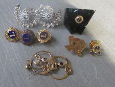 8 Pieces of Vintage Lions Club Memorabilia Lucite Ring, 5 Lapel Pins, Earrings