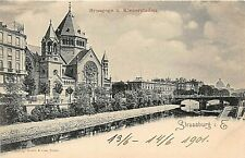 Postcard Judaica France Strasburg Kleberstaden Synagogue Circa 1901