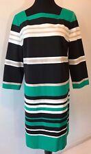 White House Black Market Green White Striped Shift Dress size 14 NWT $150 DS13