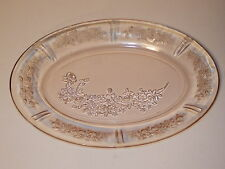 FEDERAL GLASS DEPRESSION ERA PLATTER SHARON CABBAGE ROSE PINK 12 1/2""