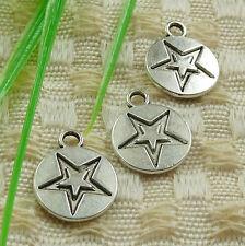 Free Ship 154 pieces tibetan silver star charms 14x11mm #4524