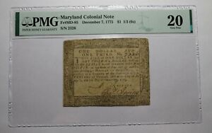 $1 1/3 1775 Maryland MD Colonial Currency Bank Note Bill PMG Graded VF20 RARE!