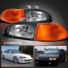 Fits 1992-1995 Honda Civic Eg Eh Ej 4dr Sedan Black Headlightscorner Lamps 4pc