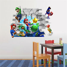 3D super mario Art kids room decor Wall sticker Cartoon PVC wall decals Mural Y*