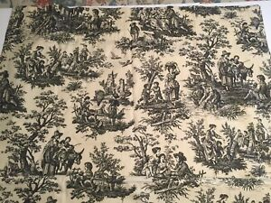 "Waverly Home Classics COUNTRY LIFE Black Toile Fabric Drapery Panel 42"" x 82"""